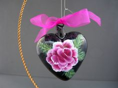 painted rose on glass heart by dori from purplepetals.net