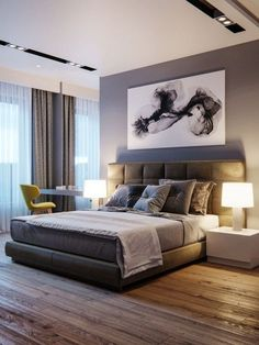 Home Interior Art Take a look at some contemporary bedroom design inspirations! Interior Art Take a look at some contemporary bedroom design inspirat Modern Bedroom Design, Master Bedroom Design, Contemporary Bedroom, Home Bedroom, Interior Design Living Room, Bedroom Ideas, Bedroom Designs, Bedroom Decor, Bedroom Ceiling Designs