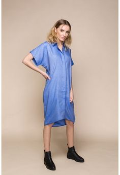 Blue Denim Shirt Dress with butterfly sleeves