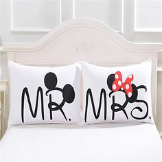 mickey mouse Heart Body Pillow Cover Cotton Home Textiles Valentine's Day Gift Pillowcase Bedclothes 2Pcs/Pair 50cmx75cm 2016 - $20.84