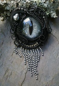 Gothic Steampunk Black Evil Eye Pin Pendant by twistedsisterarts, This woman is incredible!