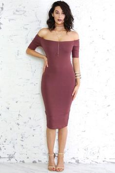 Off The Shoulder Bodycon Midi Length Dress
