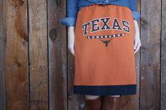 University of Texas Longhorns Skirt  - made using old t-shirt