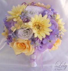 17pcs Wedding Bridal Bouquet Set Decoration Package Silk Flowers LAVENDER YELLOW #LILYOFANGELES #Wedding