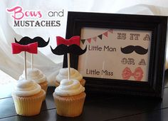 white cupcakes with pink bows and mustaches - perfect decorations for a gender reveal party with your family and friends #genderreveal #babyshower #babyreveal