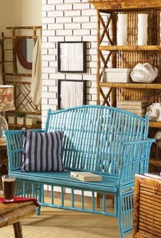 Bamboo Rattan Settee - Available in Several Colors