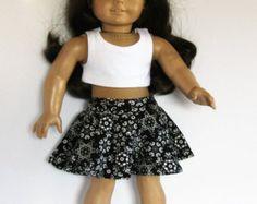 Three Piece Black and White Floral Skater Skirt von something2do