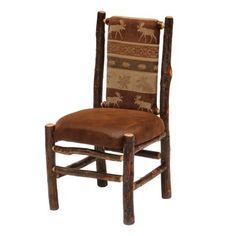 Fireside Lodge Furniture 86030 Hickory Back Side Dining Chair Lodge Furniture, Hickory Furniture, Western Furniture, Rustic Furniture, Log Chairs, Side Chairs, Dining Chairs, Leather Bench, Reclaimed Barn Wood