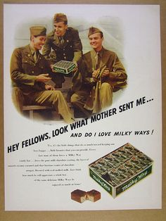 1942 Mars MILKY WAY Chocolate Candy Bar ww2 us soldiers photo vintage print Ad