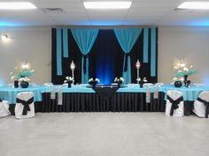 Black and Turquoise Wedding Head Table and Backdrop by www.jonathanreiman.com