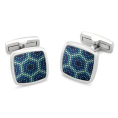 Amparo Cufflinks  Colour Surface Printed Dotty Pattern Tonal Blues Rhodium Plated 17mm Square Luxury Fastening #duncanwaltondesigns #duncanwaltoncufflinks