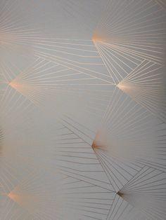 FAN copper rose zinc grey metallic wallpaper by Erica Wakerly – Modern Wallpaper Copper Wallpaper, Metallic Wallpaper, Grey Wallpaper, Wallpaper Pictures, Wallpaper Ideas, Bedroom Wallpaper, Wall Fires, Copper Rose, Contemporary Wallpaper