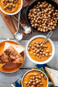 Spicy Almond Carrot Soup with Skillet-Roasted Chickpeas |