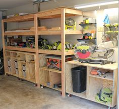 We just finished a garage makeover for our workshop. We used plans from Ana White and Ryobi to create the garage workshop of our dreams. Check out the before and after to see the transformation. Garage Workshop Plans, Garage Workshop Organization, Garage Plans, Garage Storage Shelves, Shop Storage, Garage Shed, Garage Tools, Diy Garage Work Bench, Dream Garage
