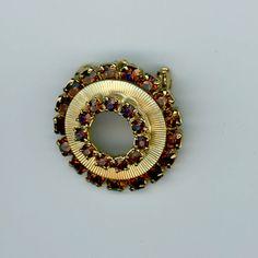 Vintage1960's Brown Rhinestone Circle Pin by PandPF on Etsy