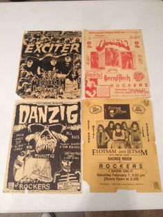 Early Megadeth concert poster as an opener for Exciter(top left), Omen concert poster for former AZ rock club, Rockers(top right), early concert poster for Flotsam and Jetsam(Jason Newsted)(bottom right), Early concert poster for Danzig at former AZ rock club Rockers (bottom left)