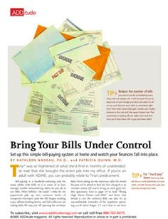 (Download) Pay Bills On Time with Adult ADHD: Bill-paying is a headache-inducing task for many adults with ADHD. Set up this simple bill-paying system at home and watch your finances fall into place.