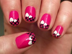 Pink Checker tips with white hearts - Nail art design