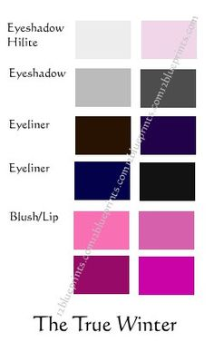 True Winter (Cool Winter) Make up Cool Winter Color Palette, Deep Winter Colors, Summer Colors, Autumn Colours, Color Type, Type 4, Winter Typ, Clear Winter, Seasonal Color Analysis