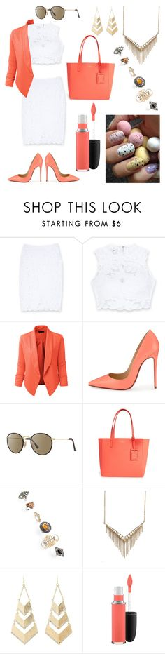"""""""Untitled #185"""" by angelicaaans ❤ liked on Polyvore featuring Bebe, LE3NO, Christian Louboutin, Ray-Ban, Kate Spade, Topshop, Melinda Maria, Charlotte Russe and MAC Cosmetics"""