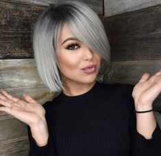 Grey Bob Hairstyles, Cute Hairstyles For Medium Hair, Medium Hair Styles, Curly Hair Styles, Short Haircuts, Hairstyles 2018, Braid Hairstyles, Grey Short Hair Styles, Haircut Short