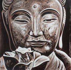 """buddha 30x30"""" oil on canvas by dragoslav milic"""