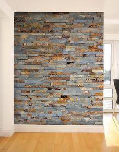 Slate Stone, Brick And Stone, Stone Wall Living Room, Living Rooms, Brick Wall, Wood Wall, Indoor Stone Wall, Winery Tasting Room, Stone Accent Walls