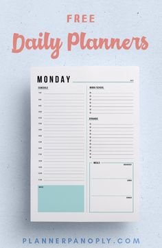 Free daily printable planners! Versions for work, home life, or blank. Features to do lists, hourly planners, and more. #planneraddict #plannercommunity #plannerlove #printable