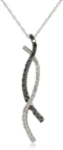 10k White Gold Black and White Diamond Twist Pendant (1/3 cttw) for sale