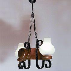 Candelabru rustic fabricat manual din lemn Rustic 1043 - Corpuri de iluminat, lustre, aplice