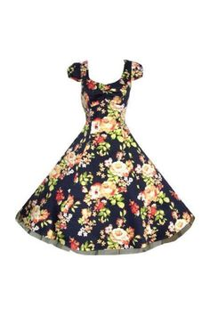 Navy Blue Floral Vintage 50s Swing Prom Pin-Up Tea Dress