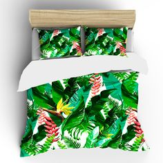 Custom Tropical Flowers Bedding - Designer Inspired Green Palms and flowers in tropical theme. The very design for summer and dreams of the tropics.