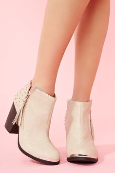Studded Ankle Boot - Bone