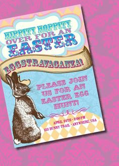 DIY Printable Easter Party Egg Hunt Invitation, Easter Craft Ideas #2014 #easter #crafts www.loveitsomuch.com
