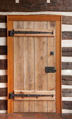 Log Cabin Doors | old barn in Woodstock, Va., were spliced together to create new doors ...