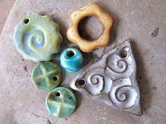 Mermaid Treasures - Handmade Ceramic Beads by ktotten on Etsy