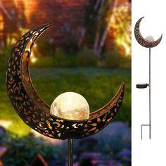 Solar Crescent Moon Stake Garden Light