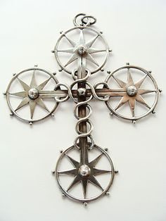 William Spratling Sterling Silver Star Cross Pendant
