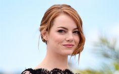 壁紙をダウンロードする Emma石, 米国人女優, 笑顔の女性, の赤毛の女性, 肖像