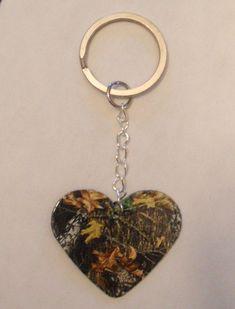 Mossy Oak Camo Camouflage Heart shaped KEYCHAIN country girl love jewelry. $3.00, via Etsy.