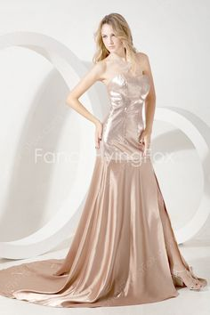 Glamour Sweetheart Neckline A-line Full Length Champagne Pageant Dress For Women With Slit