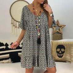 Sum All Chic, Shop Grey Floral Print Drawstring Draped Pleated Ruffle Backless Round Neck Short Sleeve Bohemian Midi Dress online. Casual Dresses, Fashion Dresses, Short Sleeve Dresses, Beach Dresses, Loose Dresses, Maxi Dresses, Plus Size Dresses, Plus Size Outfits, Types Of Sleeves