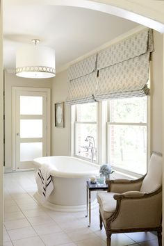 Outside Mount Roman Shade and Curtains Over Vertical Blinds