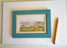 Deer Leap  Watercolour and pen. View from the Mendips to Brean Down, Somerset.
