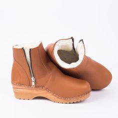 8aa1fc5888761b Shearling Clog Boot in Light Brown leather - Troentorp Clogs