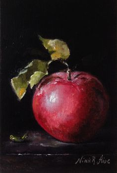 Still life with Apple with Leaf. Original Oil Painting. Linen 6x4 inches by Nina R.Aide Studio. Available on Etsy