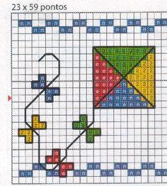 Vlieger, borduurpatroontje voor kids