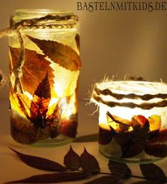 Ein herbstliches Windlicht basteln – Basteln mit Kindern Make tealights with dried leaves and old glasses. For tinkering for kindergarten, schools or just at home. Fall Crafts For Kids, Diy For Kids, Gifts For Kids, Diy And Crafts, Children Crafts, Autumn Crafts, Summer Crafts, Lantern Crafts, Homemade Soy Candles