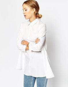 ASOS | ASOS Longline White Shirt with Half Placket at ASOS