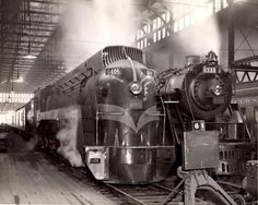 "rabbit817: "" Glory Days Back when trains really were cool… Grand Trunk Western passenger trains, with streamlined and standard steam power, in what is presumed to be Chicago, IL's Dearborn Street..."
